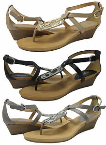 Coach-Womens-Dylan-Tan-or-Black-or-Pewter-Ankle-Strap-Wedge-Thong-Sandals-Shoes