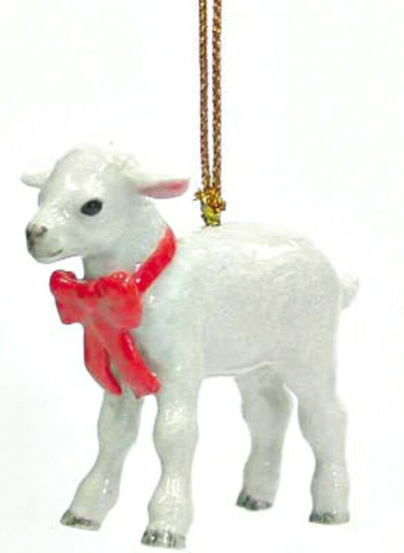 Northern+Rose+Porcelain+Christmas+Tree+Decoration+Lamb+with+Red+Bow+R308