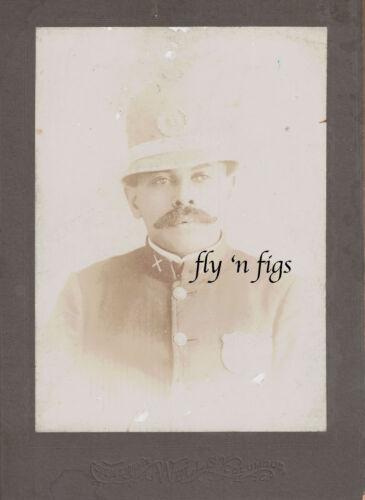 RARE AFRICAN AMERICAN POLICEMAN antique cabinet card photo c1890 COLUMBUS OHIO
