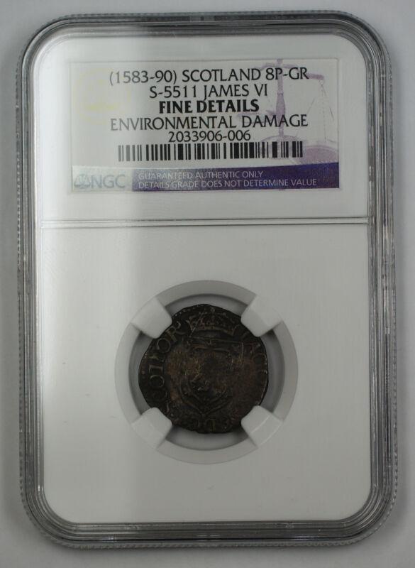 (1583-90) Scotland 8P Groat Silver Coin S-5511 James VI NGC Fine Details AKR