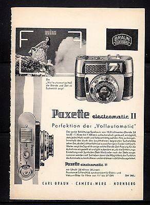 3w422/ Alte Reklame - von 1961 -  Braun Camera-Werke Nürnberg - PAXETTE