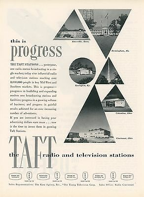 1959 Taft Radio   Television Stations Ad Wkrc Wtvn Wbir Wbrc Wkyt Tv