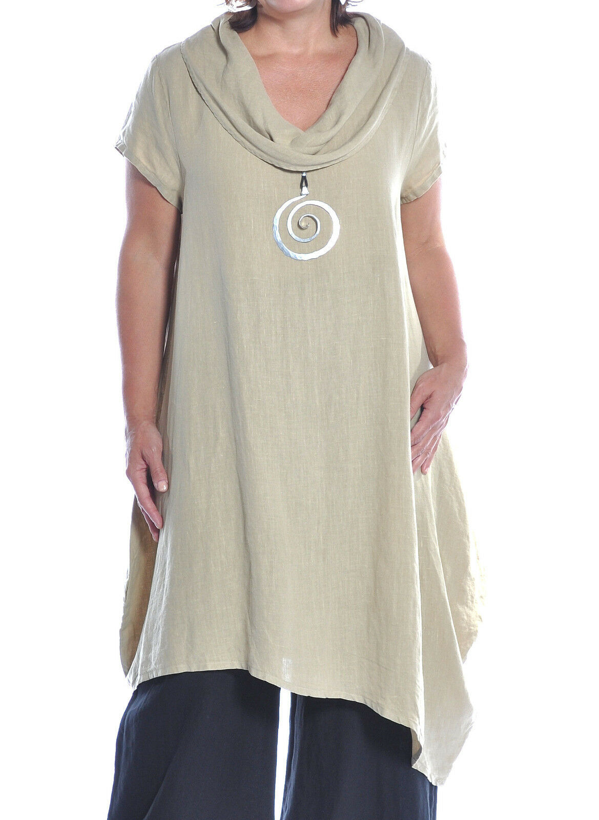 MOSAIC USA 720 Midweight Linen COWL NECK DRESS Long w// Pockets  S M L XL WHITE