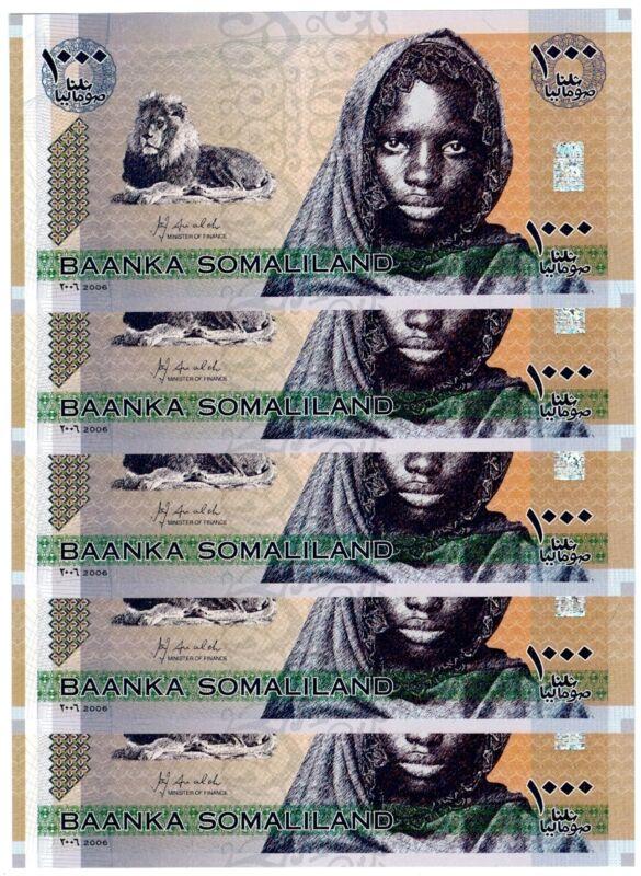 2006 Somaliland 5 Notes Uncirculated 1000 Shillings