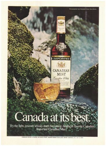 VINTAGE PRINT ADVERTISEMENT 1974 Canadian Mist- Canada at its best