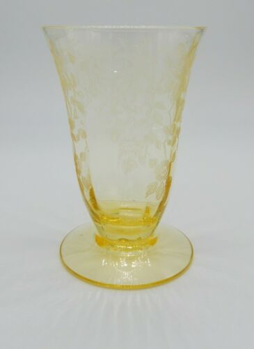 Vtg Cambridge Glass Apple Blossom yellow footed depression glass water tumbler