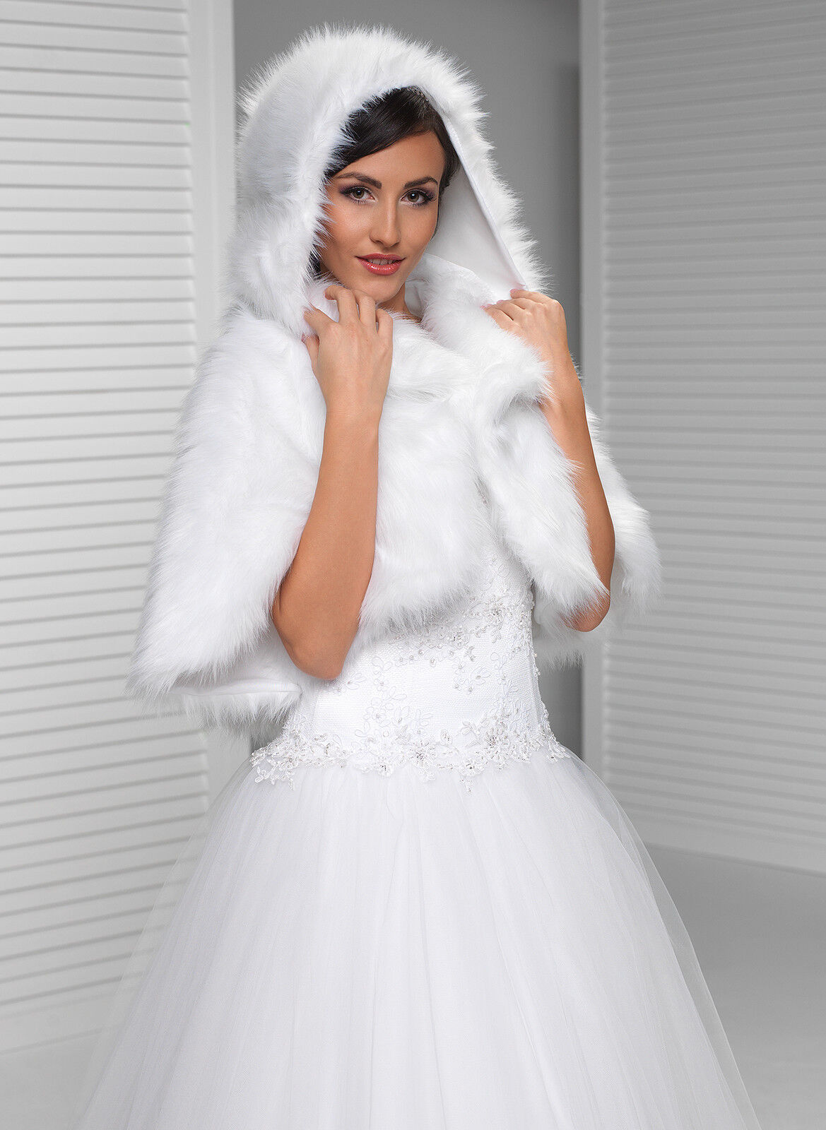 NEW WOMENS GIRLS WEDDING FAUX FUR IVORY BRIDAL SHAWL WRAP STOLE ...