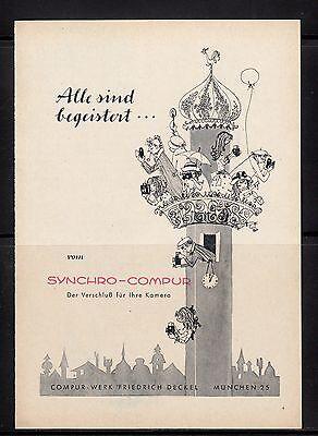 3w283/ Alte Reklame - von 1958 - SYNCHRO-COMPUR - Der Verschluß für Ihre Kamera
