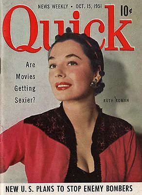 Quick News Weekly Magazine 1951 October 15 News Entertainment Photos  Ruth Roman