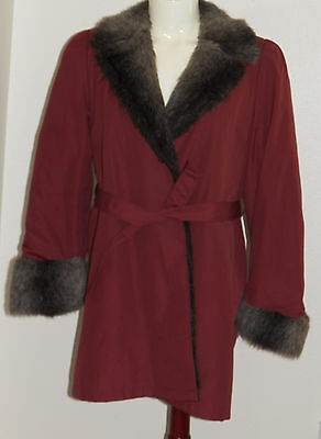 London Fog Purple(ish) Women's Coat Jacket Size 8 Regular Faux Fur Collar/Lining](Purple Faux Fur Coat)