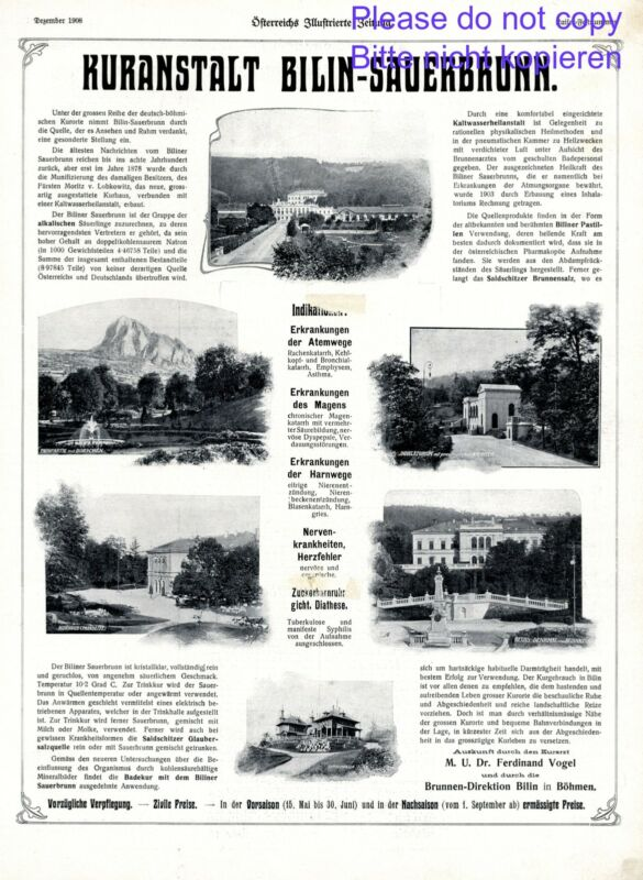 Spa Bilin Sauerbrunn Bohemia XL 1908 Austrian ad Bilina advertising czech