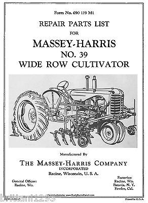 Massey Harris No.39 Wide Row Cultivator Parts Manual 690-119-m1 081951