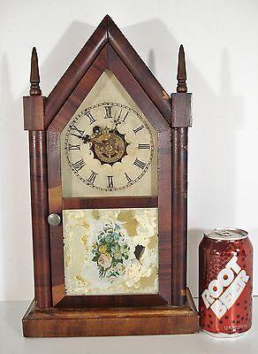 Antique WATERBURY Steeple Case CLOCK w/Alarm shelf/mantle/mantel/kitchen