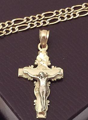 "Real 14k Yellow Gold Jesus Crucifix Cross Pendant Charm + Figaro Chain 18"" inch"