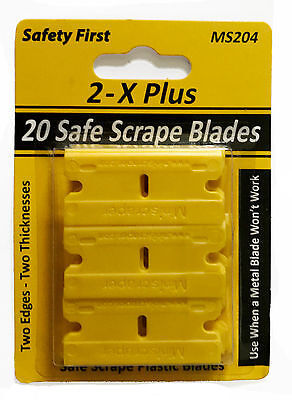 - 20 Plastic Razor Blades Double Edged with Thicker and Thinner Edges / Decal Remo