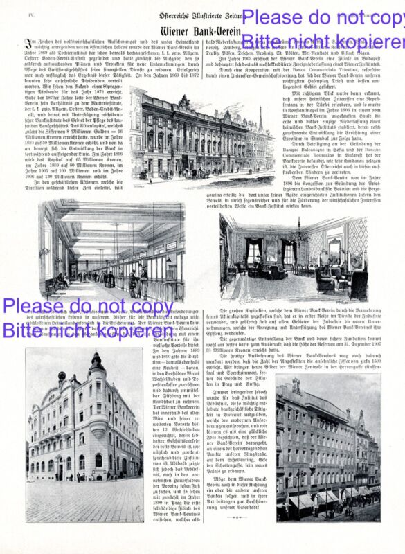 Vienna Bank association Austrian 1908 ad Austria advertising +