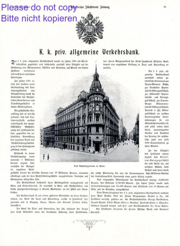 K.u.K. Gerneral Bank Vienna XL ad 1908 Austria advertising
