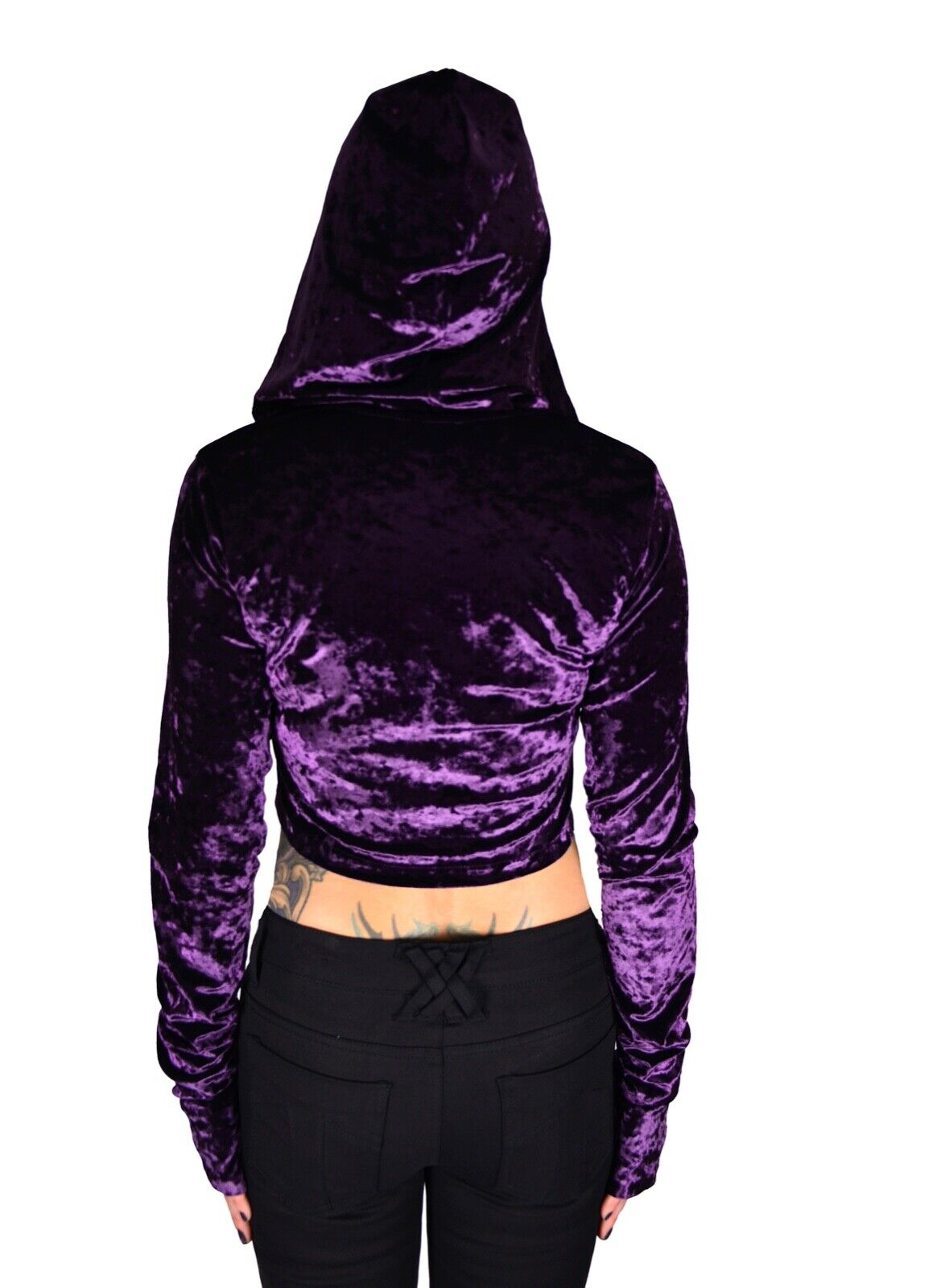 24HRS PLUM VELVET CRUSH LACE UP HOODIE SHIMERING SEXY DOLL SHIRT Clothing, Shoes & Accessories