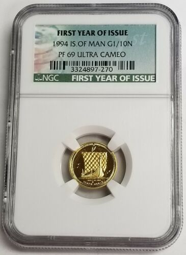 Isle of Man 1994 First Year of Issue 1/10 Noble 1/10 oz Gold NGC PF69 UCAM