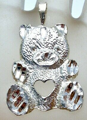 - Sterling Silver Teddy Bear Necklace Pendant with Heart Diamond Cut For Necklace