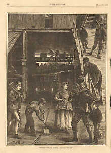 English Pits And Pitmen, Leaving The Pit, Coal Mining, 1871 Antique Art Print