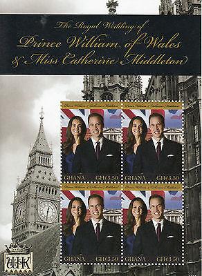 Ghana 2011 MNH Royal Wedding Prince William & Kate 4v M/S II Royalty Stamps