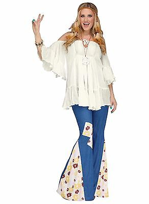60's Flower Child Hippie Denim-Like Bell Bottom Pants Adult Costume Accessory