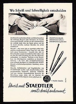 3w1647/ Alte Reklame von 1960 - schreibe mit STAEDTLER - weil´s drauf ankommt.