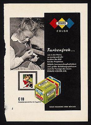 3w1694/ Alte Reklame von 1960 - Farbfilm PERUTZ Color - Perutz Werke München
