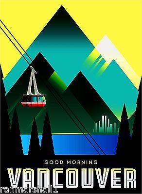 Canada Vancouver British Columbia Canadian Travel Advertisement Art Poster