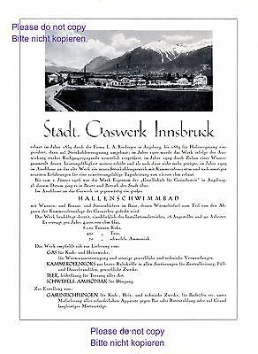 Gaswerk Innsbruck XL Reklame 1927 Riedlinger Werbung Hallenbad Österreich +
