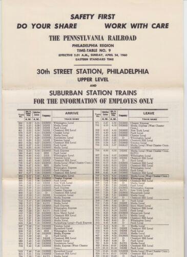 1960 Pennsylvania Railroad Philadelphia Region Depot Timetable #9