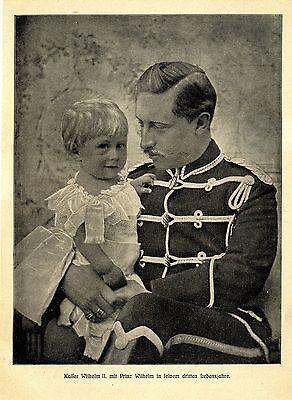 Kaiser Wilhelm II. mit Prinz Wilhelm in seinem dritten Lebensjahre c.1905