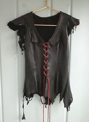 Black Leather Distressed Lace Up Corset Pirate Renaissance Halloween Costume