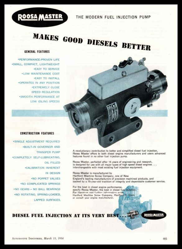 1955 Roosa Master Diesel Fuel Injection Pump Hartford CT Screw Company Print Ad