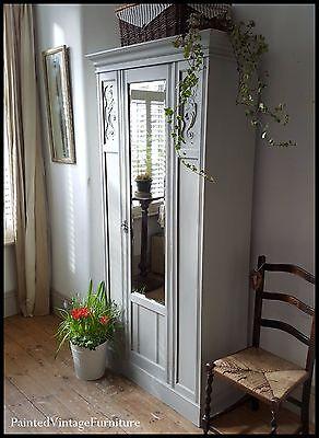 Pretty Antique Hand Painted Single Wardrobe Paris Grey