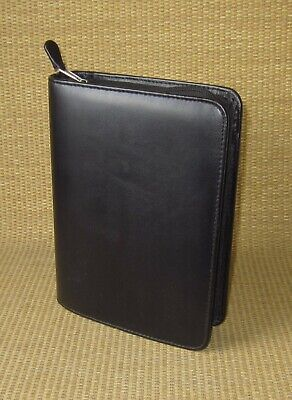 Compact Franklin Covey Black Sim. Leather 1.25 Rings Zip Plannerbinder