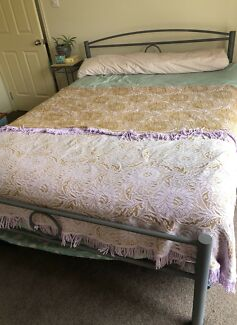 Grey Iron Queen Bed and Plush Mattress
