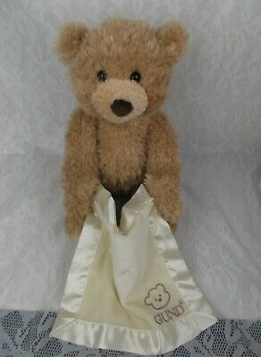 "Gund Baby Peek A Boo Bear Teddy Animated Talks Mouth Moves Blanket 14"" Plush Toy"