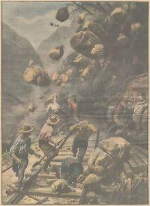 K0160 Manutentori linea ferroviaria travolti da frana - Stampa - 1931 Old print - Italia - L'oggetto può essere restituito - Italia