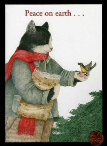 Christmas Cat Kitten Feeding Bird Birdseed  By PARIS BOTTMAN - Greeting Card New