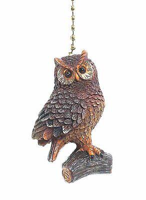 Brown Woodland Owl Decorative Ceiling Fan Light Pull 3 Dimensional - Woodland Owl
