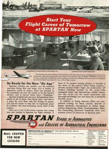 1945 SPARTAN School of Aeronautics Link Trainer Dept. Vintage Print Ad