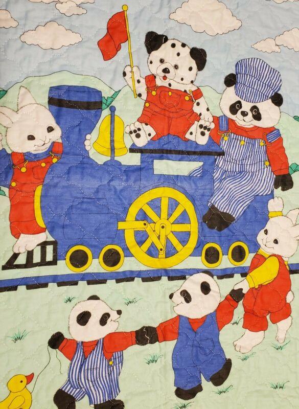 Panda Bear Bunny Rabbit Trains Nursery Baby Blanket Quilt Wall Handmade Animals