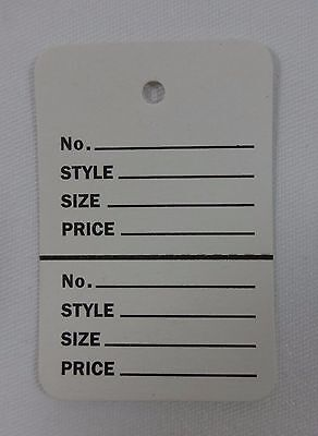 500 White Unstrung Coupon Garment Merchandise Price Tags Large New