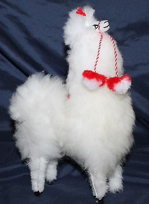 """New Llama 10"""" White Stuffed Toy Real Fluffy Alpaca fur/wool Andes Peru"""