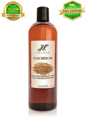 100% Organic FlaxSeed Oil Natural Salad Omega-3 Unrefined Cold Pressed 16 oz Health & Beauty