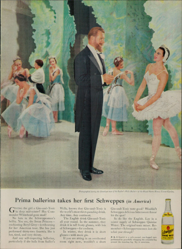 1955 Schweppes Soda Quinine Water Ballerina Talking to Man Vintage Print Ad 1876