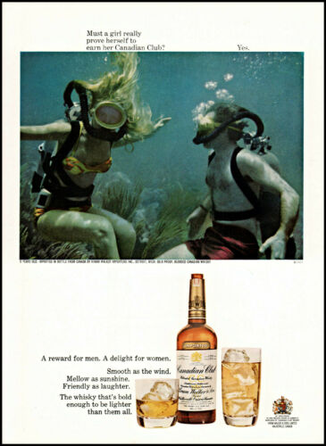 1968 Girl Scuba Diver Canadian Club Whisky vintage photo print ad ads67