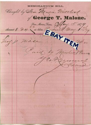 1879 BILLHEAD George T Malone SAN MARCOS TEXAS merchant PINK MEMORANDUM BILL